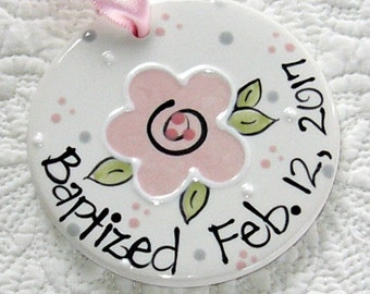 Personalized Baptism Ornament with Flower in Pink // DOUBLE-SIDED