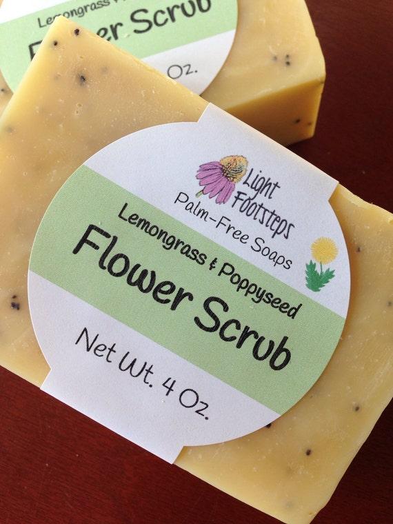 Flower Scrub: Lemongrass Poppyseed with Calendula - Botanical Soap - Palm-oil free - Vegan - Handmade - Artisan