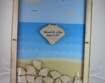 Wedding Guest Book/Top Drop/Alternative/Shadow Box/Drop Frame/Heart/Custom/Beach/Ocean/Nautical/Shell/Top Drop frame/Fast Shipping