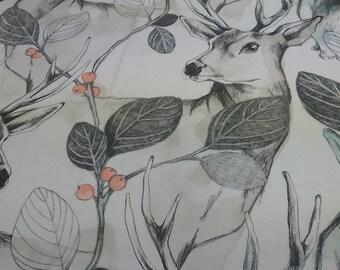 Tablecloth white grey beige orange deer rabbits Forest Modern Scandinavian Design , napkins , runner , curtains , pillow covers , great GIFT
