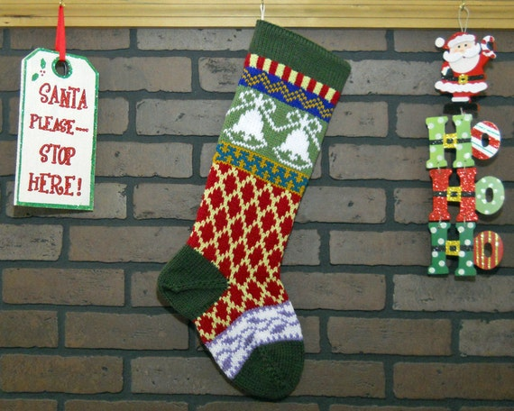 Christmas Stocking Fair Isle Knit Stocking in Green with