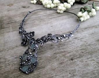 necklace with raw aquamarine
