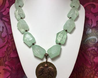 Jade Green Lucite Chunky Necklace.