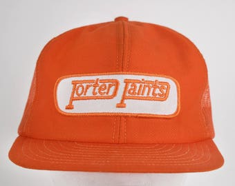 Rare Vintage Porter Paints Orange Mesh Snapback Baseball Cap, Trucker Cap, Hat, Ball Cap