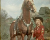 Vintage 1952 Fox Litho Print Western Beauties, Cowgirl and Her Horse in Frame