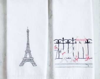 flour sack towels - paris set 2