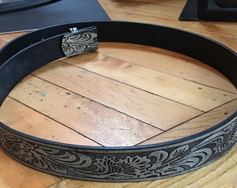 Cool Western Style, Tooled Leather Belt. Silver and Gray Leather. Size 46