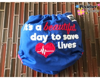 """Grey's Anatomy """"It's a Beautiful Day to Save Lives"""" One Size Cloth Diaper, Pocket Diaper (Photoshoot) MADE TO ORDER"""