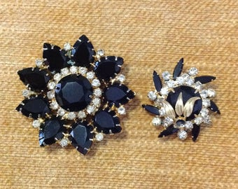 Pair of Juliana D&E Delizza Elster brooches needing repair jet black navettes clear rhinestones gold tone metal collectible costume jewelry