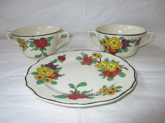 Steubenville IVORY Dessert Plate & 2 Cream Soup Bowls, Yellow Red Purple Flowers (c. 1930s)