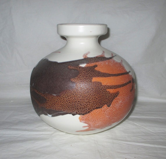 """7.25"""" Royal Haeger Vase 4152, White Earth Graphic Wrap, c. 1960s, Mid-Century Mod at its best!"""