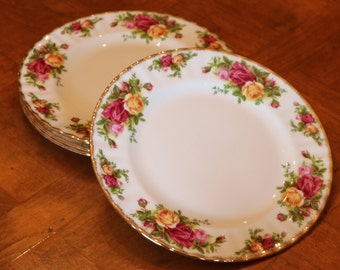 """Royal Albert """"Old Country Roses""""  Red and Yellow Rose Pattern English Fine Bone China Set of Four Salad Plates"""