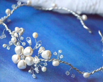 Bridal headband, Floral headband, Wedding Crown, Pearl Headband, Wedding headband, Head piece, bridal, crystals, freshwater pearls, AMD