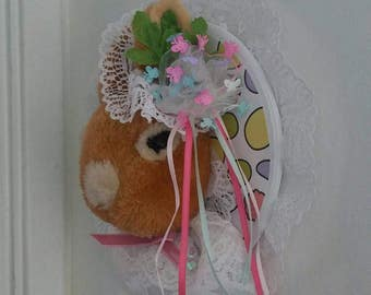 "Rabbit/Bunny/Faux Taxidermy ""Eva"" Bonnet/Little Girls/Room Decor/Wood/Paper/Lace"