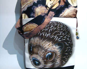 Brown hedgehog, hand made tote bag, painted rock photography, forest's animals, wearable art