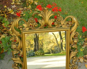 1960's Ornate Syroco Mirror - Syroco Ind Gold Plastic Frame, Great Quality Mirror, Homco - Vintage - Exquisite!