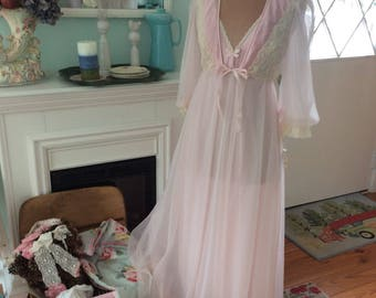 Vintage Tosca Peignoir Set Fairytale Pale Pink Nightgown and Robe Enchanting Never Worn Sale!!