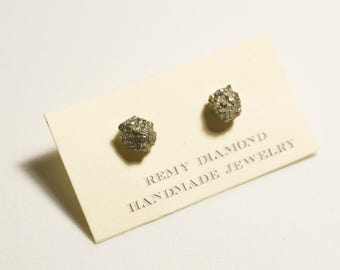 Raw Pyrite Studs - Sterling Silver - Earrings - Fools Gold