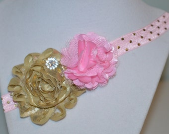 Pink and Gold Elastic Shabby Chic Headband