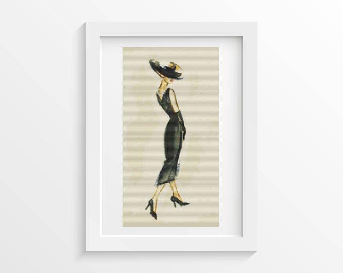 Cross Stitch Kit, Embroidery Kit, Art Cross Stitch, Woman Cross Stitch, Lady in Black (ART019)
