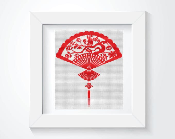 Mini Cross Stitch Pattern PDF, Embroidery Chart, Art Cross Stitch, Asian Cross Stitch, Oriental Fan (TAS122)