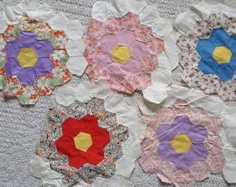 5 Vintage Quilt Squares Blocks Grandma's Garden Pattern Feedsack and Vintage Material Yardage