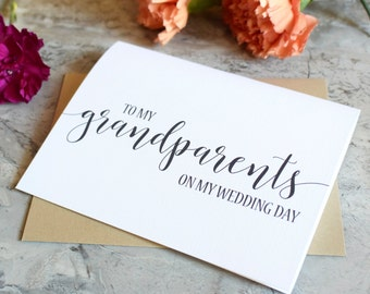 Wedding Card for Grandparents - To My Grandparents On My Wedding Day - Thank You Card - Wedding Day Keepsake BC217