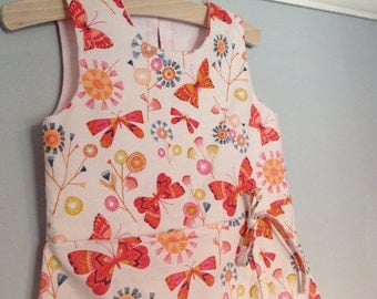 Handmade cotton wrapover dress for toddlers and girls 3 years - pink butterflies