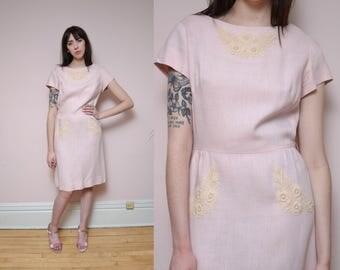 60s Floral Lace Applique Mod Dress M L Pastel Blush Pink Dress Minimal Ivory Floral Lace Embroidered Dress Bridal Dress Spring Dress