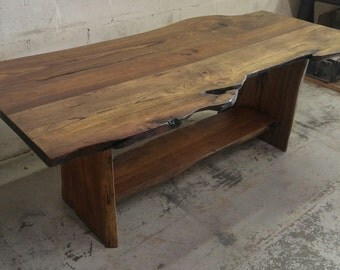 The Siberian Elm Live Edge Slab Trestle Table