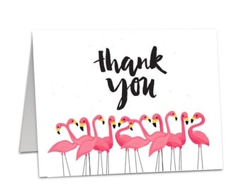 Thank You Cards - Flamingo Watercolour - Pack of 10 Wedding Birthday Baby TC01 Hen Party