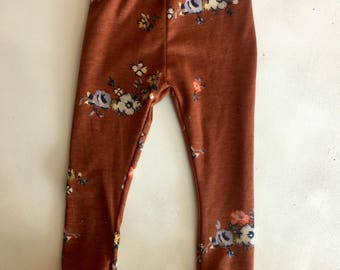 Copper Floral Baby Leggings