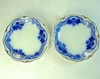 2 Flow Blue GRINDLEY BUTTER PATS, The Hofburg, Set of 2, Gold Trim