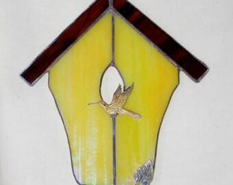 Yellow Stained Glass Birdhouse Suncatcher