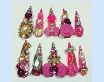 Pink Long glitter Gyaru Lolita Princess Nails