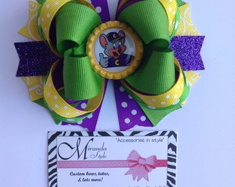 Chuck e cheese hair bow, chuck e cheese party, chuck e cheese shirt, chuck e cheese invitation. ***Free Shipping***