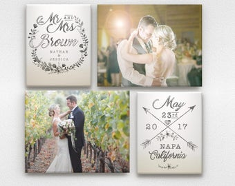 Wedding Wall Art with Names and Wedding Date - Ombre and Watercolor effect
