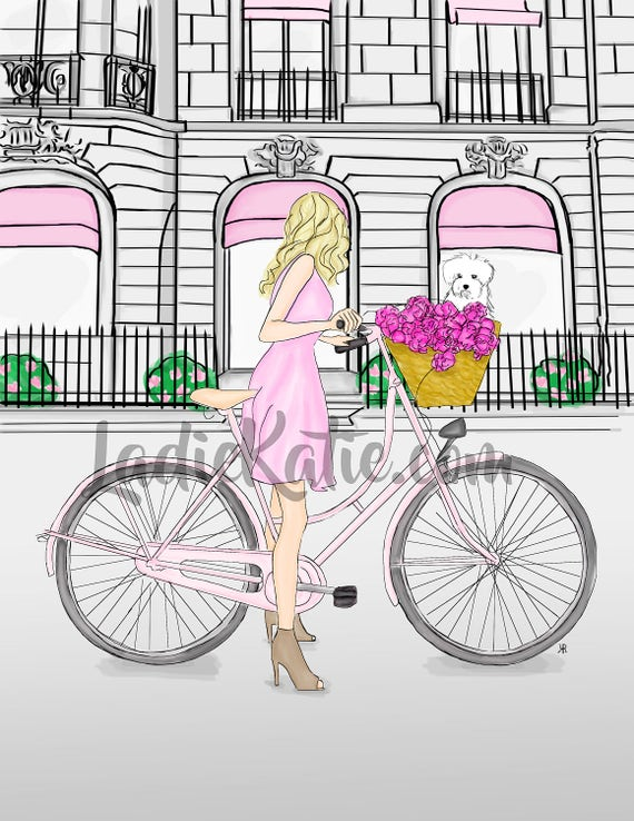 Blonde on a Bike, Brunette on a Bike, girly illustration, girly girl art, girly art, fashion sketch, dog lover fashionista print