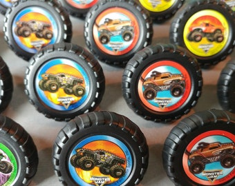24 MONSTER JAM rings cupcake toppers cake birthday party favors goodie bags decorations decor truck Grave Digger El Toro Loco Max-D Mutt