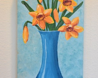 Daffodils in Blue Vase 10x20 original acrylic on canvas