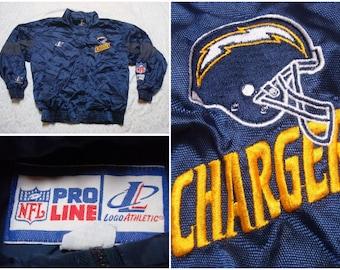 Vintage Retro Men's 90's San Diego Chargers Logo Athletic Jacket Pro Line Blue Gold NFL Football Oversized Large