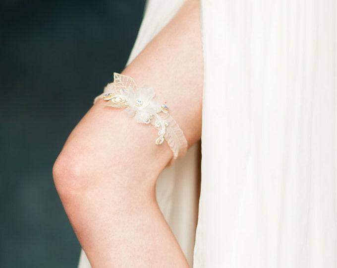 Gold Blush Flower Lace Garter, Ruffle Wedding Garter, Silk Flower Garter, Crystal Bridal Garter, Leaf Flower Garter, Beaded Garter, SCARLET