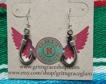 Sterling silver fish hook jewelry set, country girl jewelry, gift