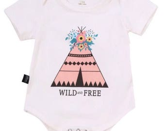 Wild and Free Teepee Onesie 3-6 MONTHS