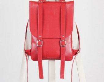 SALE! / Hot red leather backpack rucksack / In stock / Red Leather Backpack / Leather backpack / Leather rucksack / Womens backpack / Gift