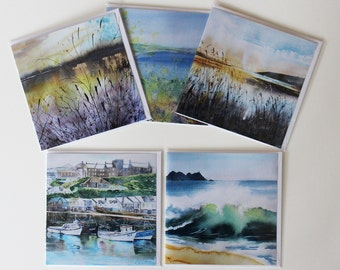 Fine Art card set of 5, art cards of Cornwall, from original watercolours, card gift set, card set, Cornish scenes, Cornish greetings cards