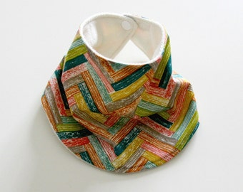 Baby Drool Bib, Organic Colorful Barn Floors Cotton with Organic Bamboo Terry