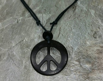Black Peace Sign Necklace - Black Hippie Necklace - Black Peace Necklace - Black Peace Pendant - Wooden Peace Necklace - Wood Peace Pendant