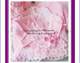BABY KNITTING PATTERNS, Baby Girl Matinee Set, Baby Pram Set Knitting Pattern, Layette Set , Exclusive Designs, D K Yarn, Pdf download, p21