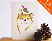 CLEARANCE 50% OFF // Doge Illustrated Art Card // Note Card // Shiba Inu Wearing A Robin Hood Hat // Dog Lover Greeting Card // Dog Notelet
